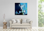 Brooke Howie | Black and Aqua Abstract on the wall