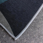 Blue Charcoal Geometric Patterned Rug