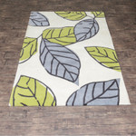 Blue Leaf Flower Art Rugs