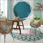 Blue Floral Patterned Round Rugs