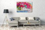 Peacock Flower Canvas Art Print on the wall