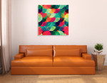 Colorful Circle Seamless Pattern Wall Art Print on the wall