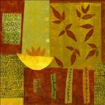 Gold Bowl with Nandina Leaves Wall Art Print