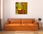 Gold Bowl with Nandina Leaves Wall Art Print on the wall