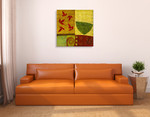 Green Bowl with Nandina Leaves Wall Art Print on the wall