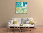 Teal Aire II Wall Art Print on the wall