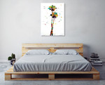 Bright Coconut Palm Wall Art Print on the wall