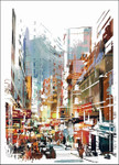 Busy City Street Wall Art Print