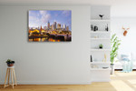 Lights of Melbourne City Wall Art Print on the wall