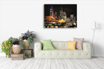 Melbourne City Lights Wall Art Print on the wall