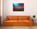 Boy on Magical Boat Wall Art Print on the wall