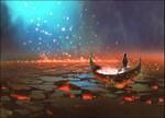 Boy on Magical Boat Wall Art Print