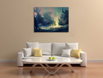 Dark Mysterious Forest Wall Art Print on the wall