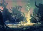 Dark Mysterious Forest Wall Art Print