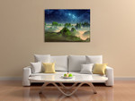 Green Fantasy Mountain Wall Art Print on the wall