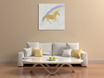 Whimsical Unicorn I Wall Art Print on the wall