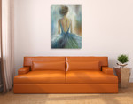 Lady in Blue Wall Art Print on the wall
