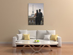 Couple Looking at Eiffel Tower Wall Print on the wall