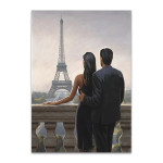 Couple Looking at Eiffel Tower Wall Print