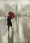 Lovers Under the Rain Wall Art Print