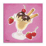Scoops of Chocolate Ice-cream Wall Print