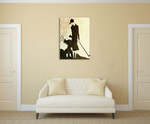 Lady and Child Golfer Wall Art Print on the wall