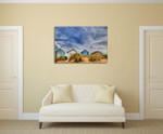 Sandy Beach Houses Wall Art Print on the wall