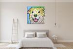Laughing Labrador Wall Art Print on the wall