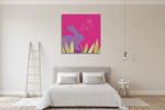 Purple Bunny Wall Art Print on the wall
