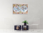 17th Century World Map Wall Print on the wall