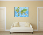 Global World Map Wall Art Print on the wall