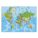 Global World Map Wall Art Print