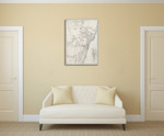 Sydney Antique Map Wall Art Print on the wall
