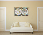 Vintage Global Map Wall Art Print on the wall