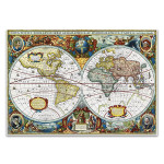 Vintage Global Map Wall Art Print