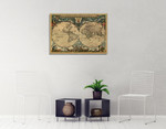 World Vintage Map Wall Art Print on the wall