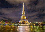 Eiffel Tower Night Lights Wall Print