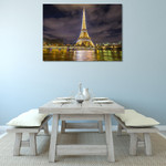 Eiffel Tower Night Lights Wall Print on the wall