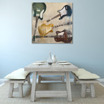 Old Electric Guitar Wall Art Print on the wall