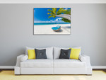 Tropical Beach Getaway Wall Print on the wall