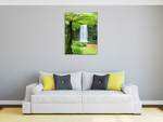 Waterfall Over Cliff Wall Art Print on the wall