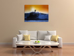 Surfer and Waves Wall Art Print on the wall