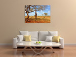 African Giraffe Wall Art Print on the wall
