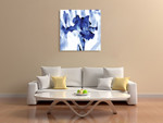 Blue Ice Iris Wall Art Print on the wall