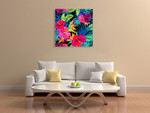 Hibiscus Palms Wall Art Print on the wall