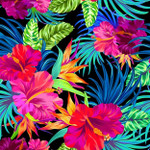 Hibiscus Palms Wall Art Print
