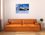 The Vintage Plane Wall Art Print on the wall