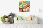 Colourful Macaroons Wall Art Print on the wall