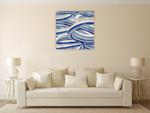 The Blue Swirls II Wall Art Print on the wall