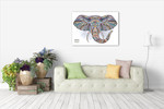 African Ethnic Elephant Wall Art Print on the wall